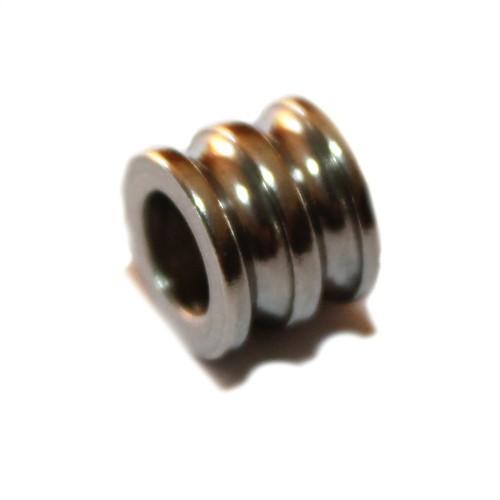 Metallperle Edelstahl Tube silber Streifen Großloch 10x8mm 1Stk.