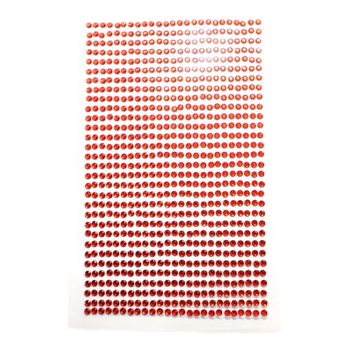 Strass Steine 3mm rund auf Folie zum Kleben rot ca. 775 Stk.140x85mm