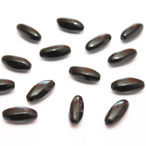 7 x 5 mm 20 ovale Glasperlen in schwarz gefrostet