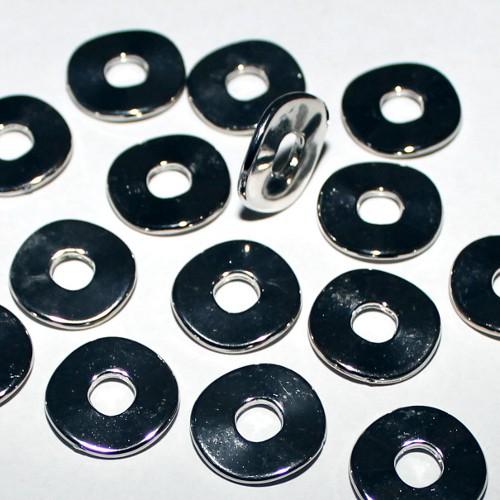 Acrylperle in Metalloptik Spacer Scheibe gewellt Großloch silber 25mm 10Stk.