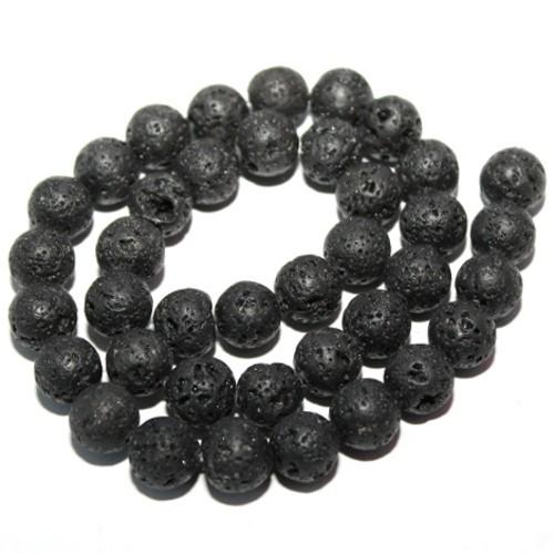 Lavaperlen natürlich (echt !) schwarz 12mm 1Strang (31Stk.)
