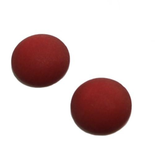 Cabochon Polaris rund flach matt rubin rot 20mm 2 Stück