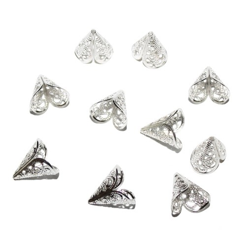 Metallperle Endkappe Perlenkappe versilbert 16x16mm 10Stk.