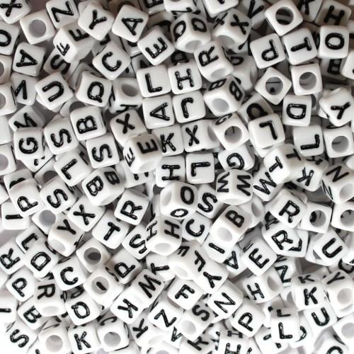 Buchstaben Würfel Acryl weiß 6x6mm Großloch mix 300Stk.