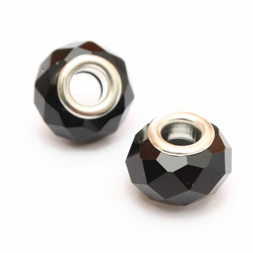 Charms Kristall - Glas facettiert schwarz glänzend 14x10mm 2Stk.