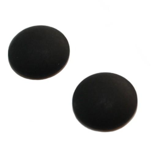 Cabochon Polaris rund flach matt schwarz 20mm 2 Stück