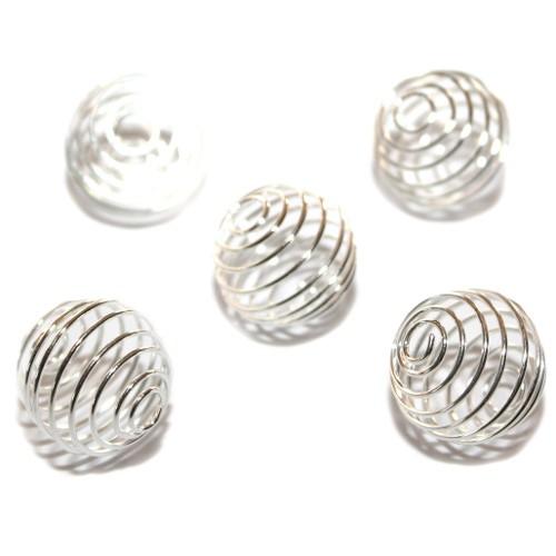 Metallperle Perlenkäfig versilbert 22x20mm 5Stk.