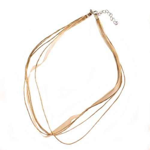 Organza / Wachs Halsband beige mit Karabinerverschluß und Verlängerungskette 43cm 2Stk.