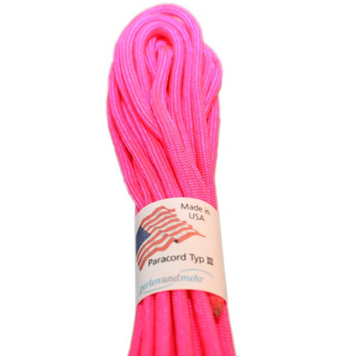 Paracord - perlenundmehr - original amerikanisch TypIII Farbe pink neon