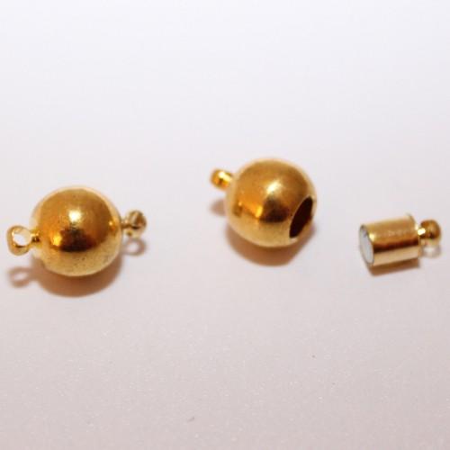 Magnetverschluß Kugel mit Öse vergoldet 15,5x10mm 1Stk.
