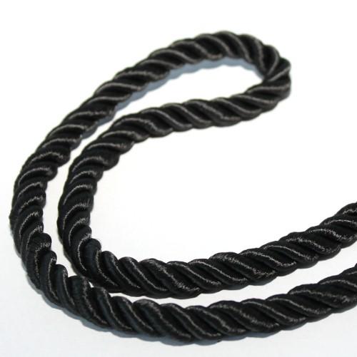 Kordel geflochten 8mm schwarz 120 cm lang