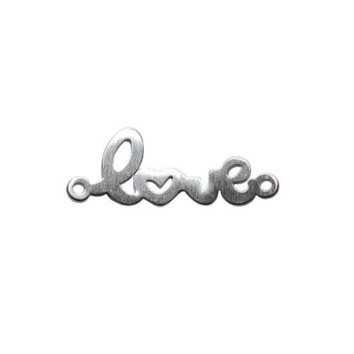"Edelstahl Verbinder Link ""love"" Liebe silber 30x11mm 1Stk."