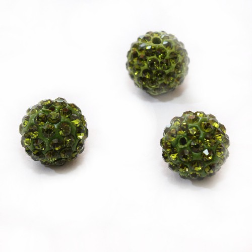 Shamballa 12 mm Kugel oliv grün 1Stk.
