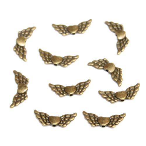 Metallperle Spacer Engel Fee Flügel mit Herz Bronze 23x9mm 10Stk.