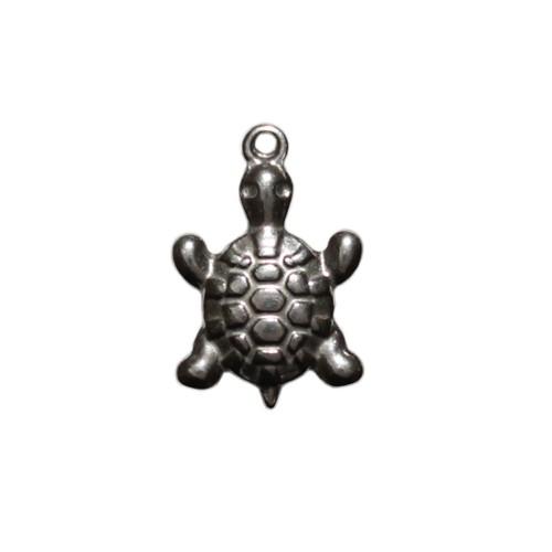 Edelstahl Anhänger Schildkröte klein silber 19x13mm 1Stk.