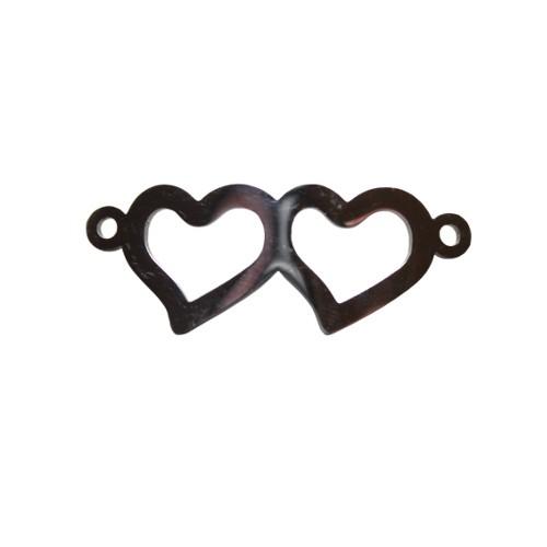 Edelstahl Verbinder Link Doppel Herz silber 31x12mm 1Stk.