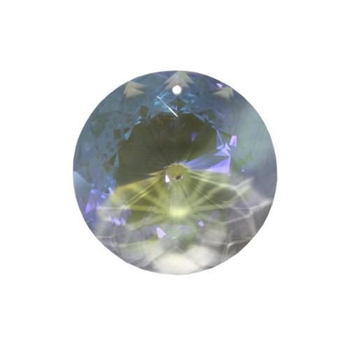 Kristall Glas rund flach facettiert Farbe AB durchsichtig 45x18mm 1Stk.