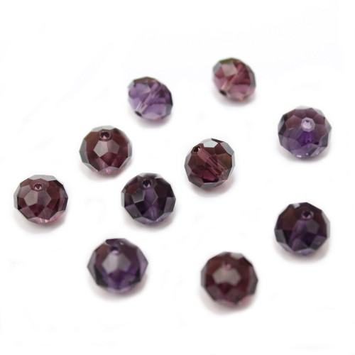 Glasperle Kristallglas Rhombe Bicone facettiert dunkel violett glänzend 10x8mm 10Stk.