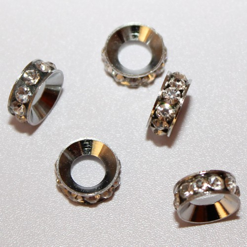Metallperle Spacer Rondelle Ring mit Strass silber 13x5mm 3Stk.