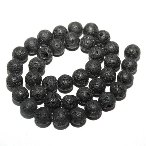 Lavaperlen natürlich (echt !) schwarz 10-11mm 1Strang (36Stk.)