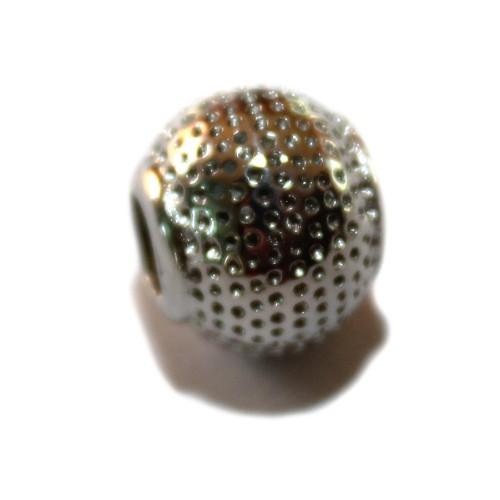 Metallperle Edelstahl Kugel Punkte silber Großloch 12mm 1Stk.