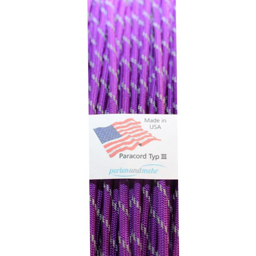 Paracord - perlenundmehr - reflektierend Farbe Violett 1 m