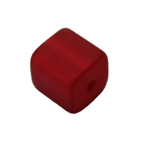 Polaris Perle Würfel matt rot 10x10mm 1 Stk.