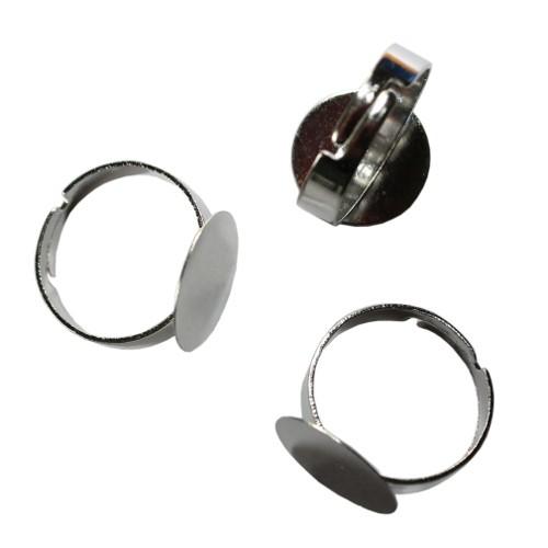 Ring verstellbar 17 - 21mm Träger Link Platte Cabochon versilbert für ab 15mm 3 Stück