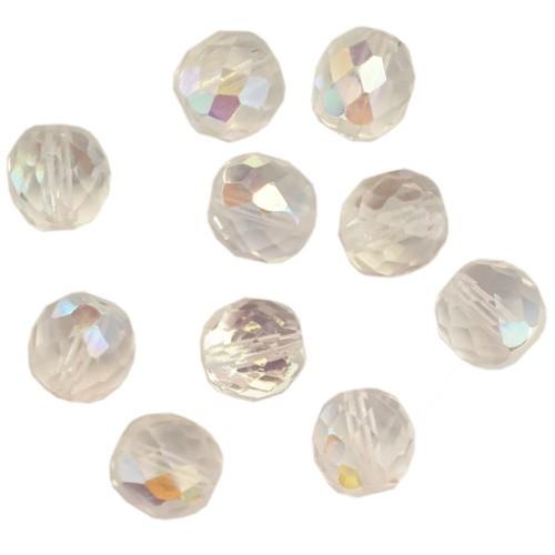 Glasperle Kristallglas Kugel facettiert AB glänzend 11x10,5mm 10Stk.