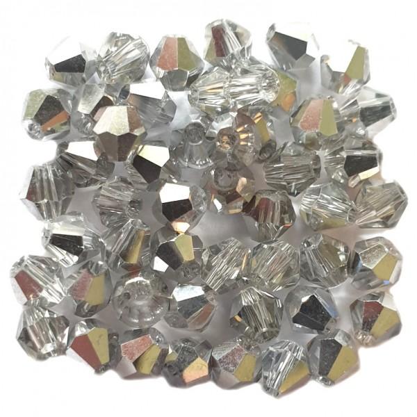 Glasperle Kristallglas Rhombe Bicone Doppelkegel facettiert silber glänzend 4x4mm 50Stk.