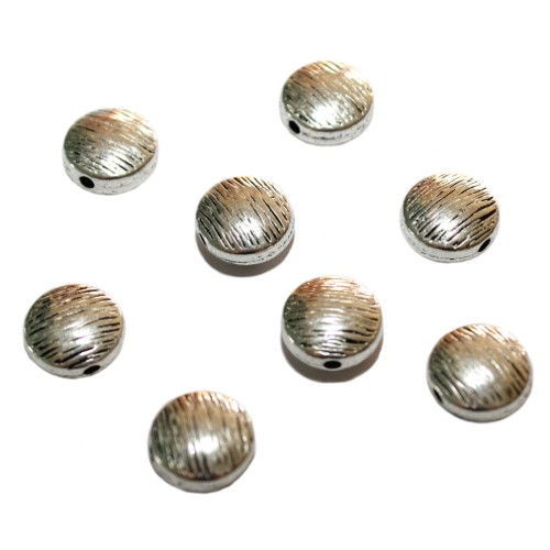 Metallperle Spacer Charms flach rund Antiksilber 10x5mm 8Stk.