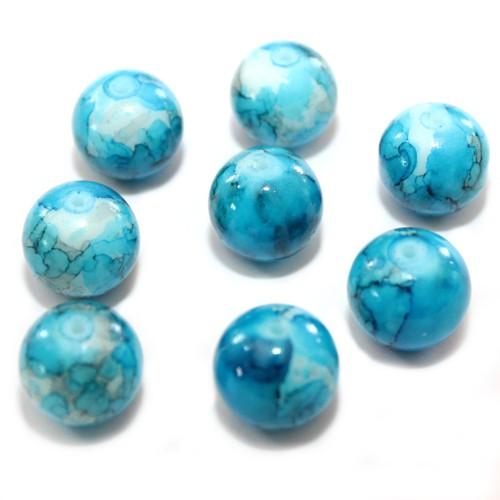 Glasperle Kugel glatt marmoriert blau 14mm 8Stk.