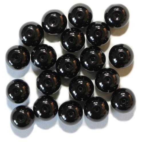 Glas Wachsperle Kugel glatt schwarz glänzend 10mm 20Stk.
