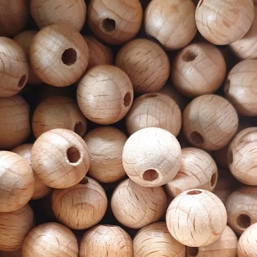 Buchen Holz Perlen Schnullerkette Kugel 11,5mm rund braun 15Stk.