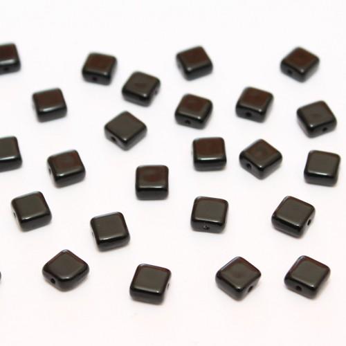 Glasperle Quadrat schwarz glatt flach 6x3mm 40Stk.