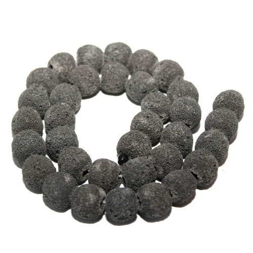 Lavaperlen synthetisch schwarz 13mm 1Strang (34Stk.)