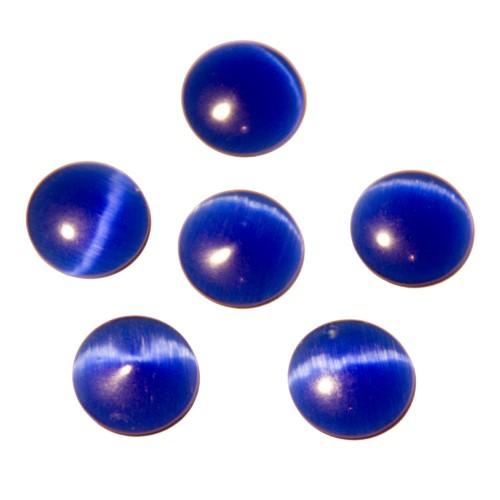 Cabochon Halbedelstein Katzenauge Cat-Eye biltz blau 14mm 6 Stück