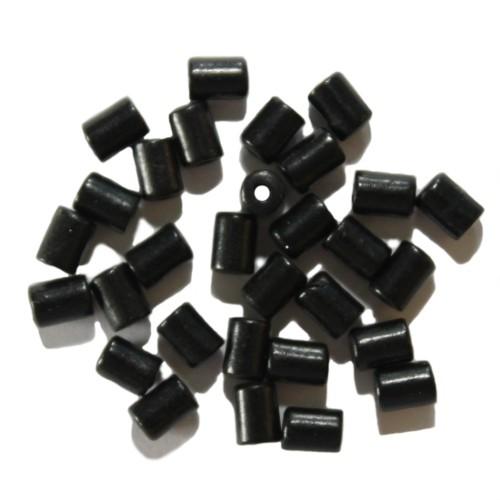 Glasperle Tube glatt schwarz 5x3,5mm 30 Stk.