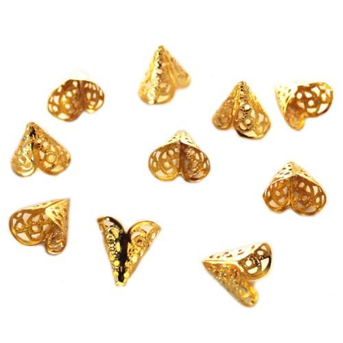 Metallperle Endkappe Perlenkappe vergoldet 16x16mm 10Stk.