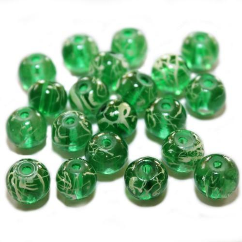 Glasperle Kugel glatt grün mit Muster 10mm 20Stk.