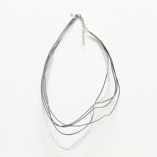 Organza / Wachs Halsband grau mit Karabinerverschluß und Verlängerungskette 43cm 2Stk.