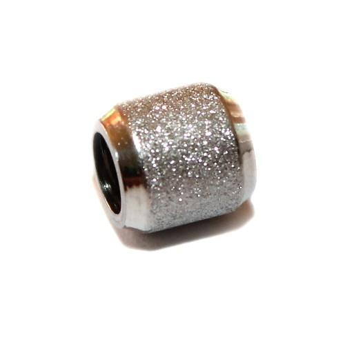 Metallperle Edelstahl Tube silber Großloch Stardust 10x10mm 1Stk.