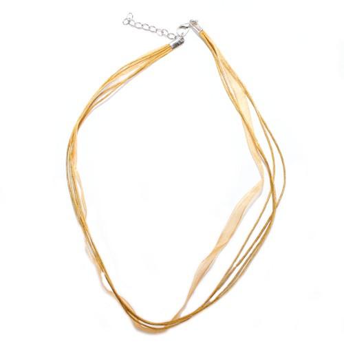 Organza / Wachs Halsband gold braun mit Karabinerverschluß und Verlängerungskette 43cm 2Stk.