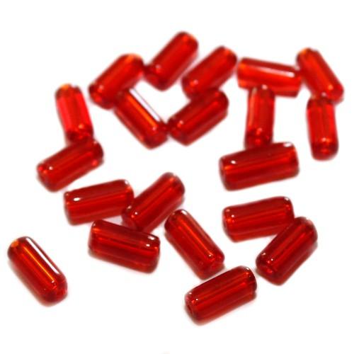 Glasperle Tube Röhrchen glatt rot 10x4mm 20 Stk.