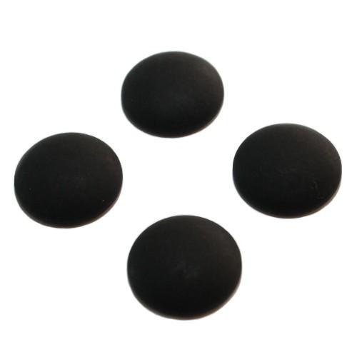 Cabochon Polaris rund flach matt schwarz 12mm 4 Stück