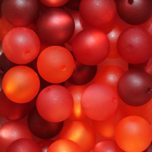 Polaris Kugel Perle matt Mix 20 Stück 14mm rot / orange - Töne
