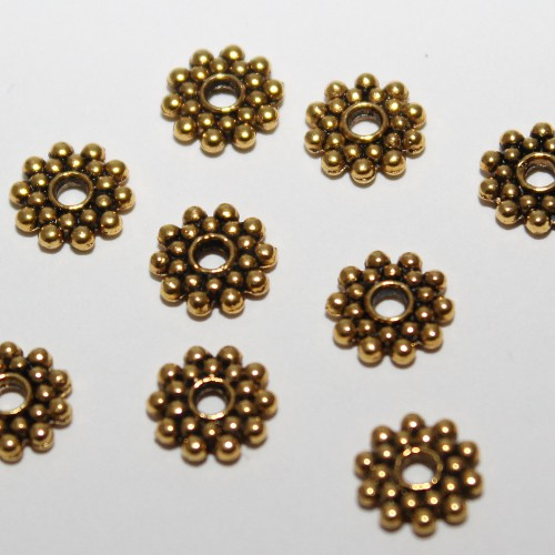 Metallperle Spacer Rondelle Blume Antik gold 8x2mm 10Stk.
