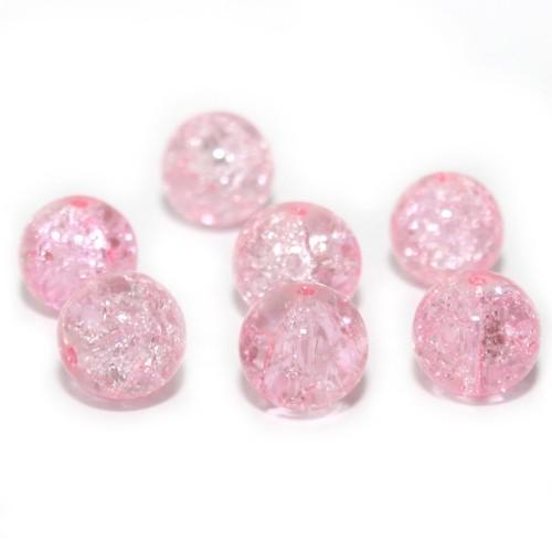 Glasperle Crackle Kugel glatt rosa 12mm 10Stk.
