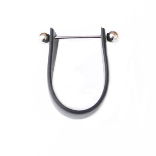 Wechselschmuck Ring mit Kugel silber und Kautschuk schwarz 2 Stk.