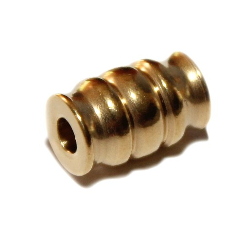 Metallperle Edelstahl Tube gold Muster Großloch 15x10mm 1Stk.